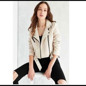 Member Only Cream Pebbled Vegan Leather Jacket L